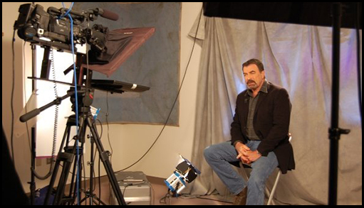 Actor Tom Selleck records a Public Service Announcement for VVMF TV